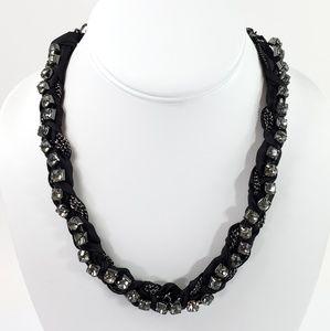 J. Crew Necklace Ribbon + Rhinestones Black